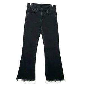 All saints Heidi Cropped Flare Jeans Black Size 28